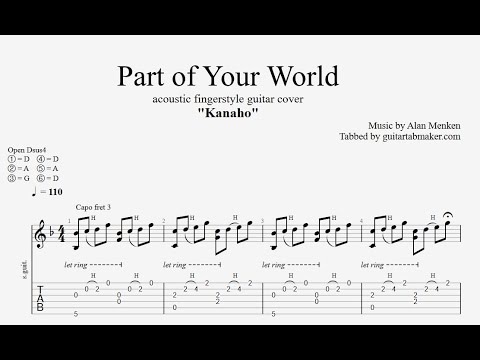 Part of Your World TAB - acoustic fingerstyle guitar tabs (PDF + Guitar Pro)