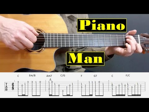Piano Man - Billy Joel - Fingerstyle guitar with tabs