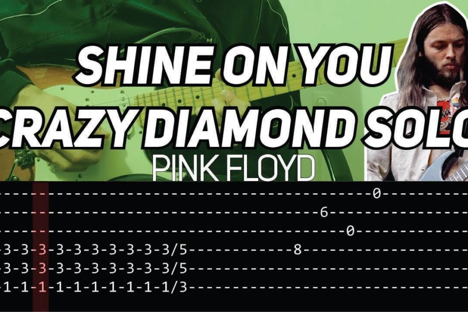 Pink Floyd - Shine On You Crazy Diamond solo (Guitar lesson with tab)