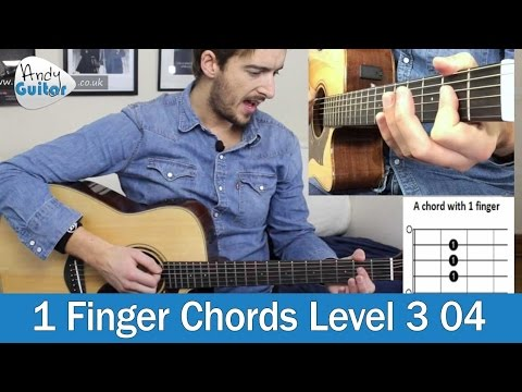 Play E & A Guitar Chords with just 1 Finger (Level 3 04) Beginner Guitar Tutorial