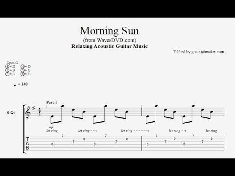 Relaxing Guitar TAB - Morning Sun - acoustic fingerpicking guitar tabs (PDF + Guitar Pro)