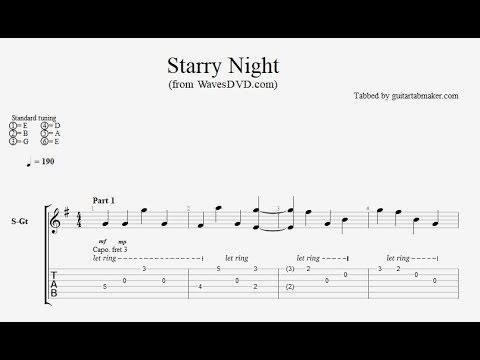 Relaxing Guitar TAB - Starry Night - acoustic fingerpicking guitar tab (PDF + Guitar Pro)