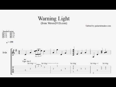Relaxing Guitar TAB - Warning Light - acoustic fingerpicking guitar tab (PDF + Guitar Pro)