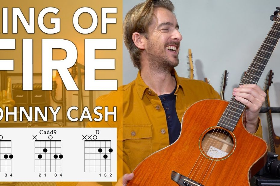 RING OF FIRE - Johnny Cash Guitar Lesson Tutorial // 3 EASY CHORDS G C D