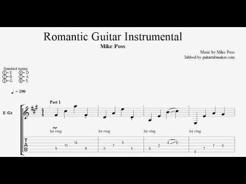 Romantic Guitar Instrumental TAB - electric guitar tab (PDF + Guitar Pro)
