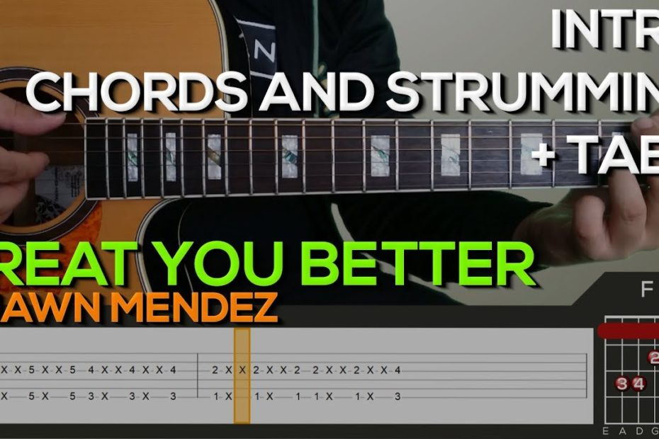 Shawn Mendes - Treat You Better Guitar Tutorial with (TABS on SCREEN)
