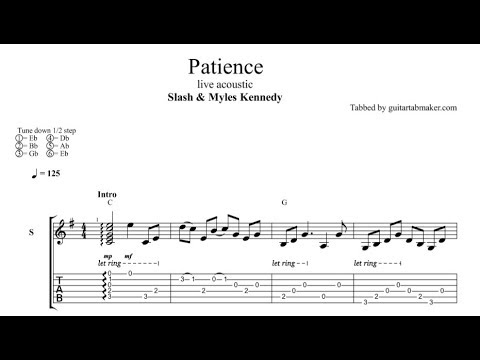 Slash and Myles Kennedy - Patience TAB - acoustic guitar solo tab (Guitar Pro)