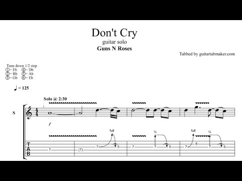 Slash - Don't Cry solo TAB - electric guitar solo tabs (Guitar Pro)