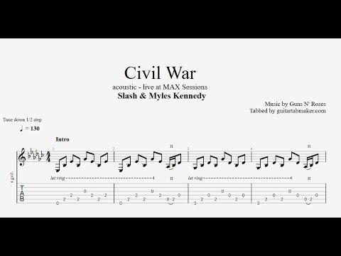 Slash & Myles Kennedy - Civil War TAB - acoustic guitar tabs (PDF + Guitar Pro)
