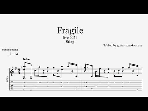Sting - Fragile TAB (live 2021) - acoustic guitar tabs (PDF + Guitar Pro)