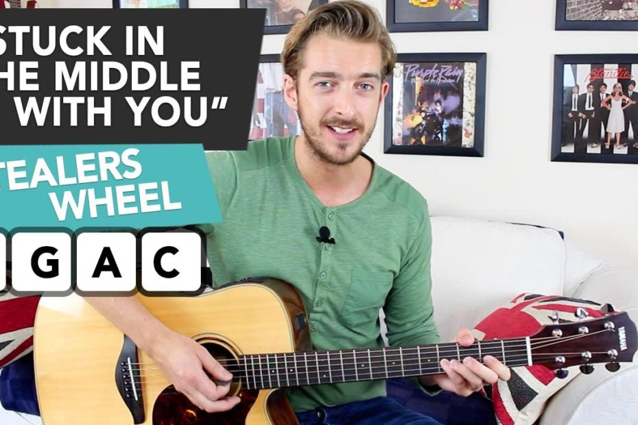 """""""STUCK IN THE MIDDLE WITH YOU"""" Guitar lesson tutorial (Stealers Wheel) EASY CHORDS"""