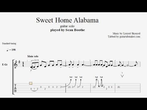 Sweet Home Alabama solo TAB - electric guitar solo tabs (Guitar Pro)