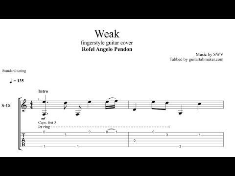 SWV - Weak TAB - fingerstyle guitar tab (PDF + Guitar Pro)
