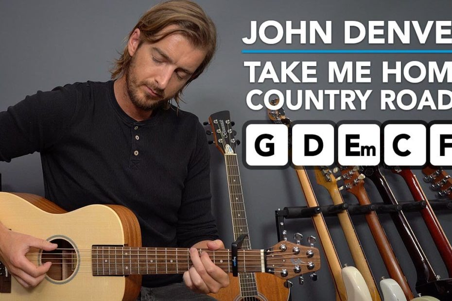 """""""Take Me Home Country Roads"""" acoustic easy guitar lesson (no pick - strum with fingers)"""