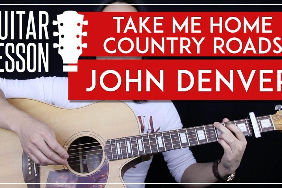 Take Me Home Country Roads Guitar Tutorial - John Denver Easy Guitar Lesson   |No Barre Chords|