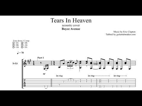 Tears In Heaven TAB - Boyce Avenue - acoustic fingerpicking guitar tab - PDF - Guitar Pro