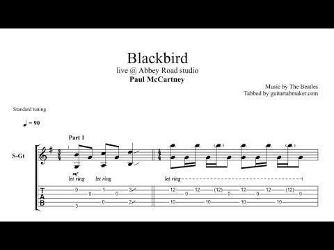 The Beatles - Blackbird TAB - acoustic fingerpicking guitar tabs (Guitar Pro)