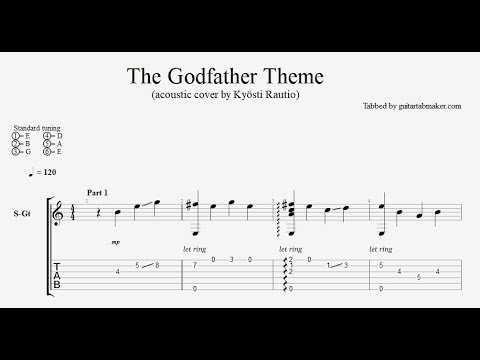 The Godfather theme TAB - easy acoustic fingerstyle guitar tab (PDF + Guitar Pro)