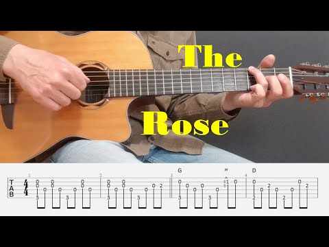 The Rose - Bette Midler - Easy Fingerstyle guitar with tabs