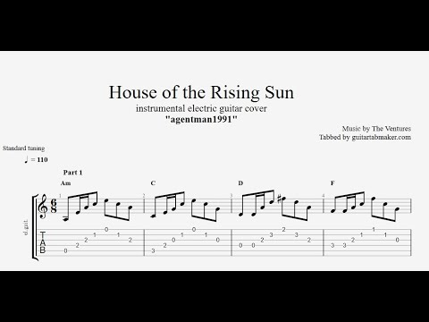 The Ventures - House of the Rising Sun TAB - vintage guitar tabs (PDF + Guitar Pro)