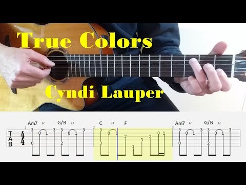 True Colors - Cyndi Lauper - Fingerstyle guitar with tabs