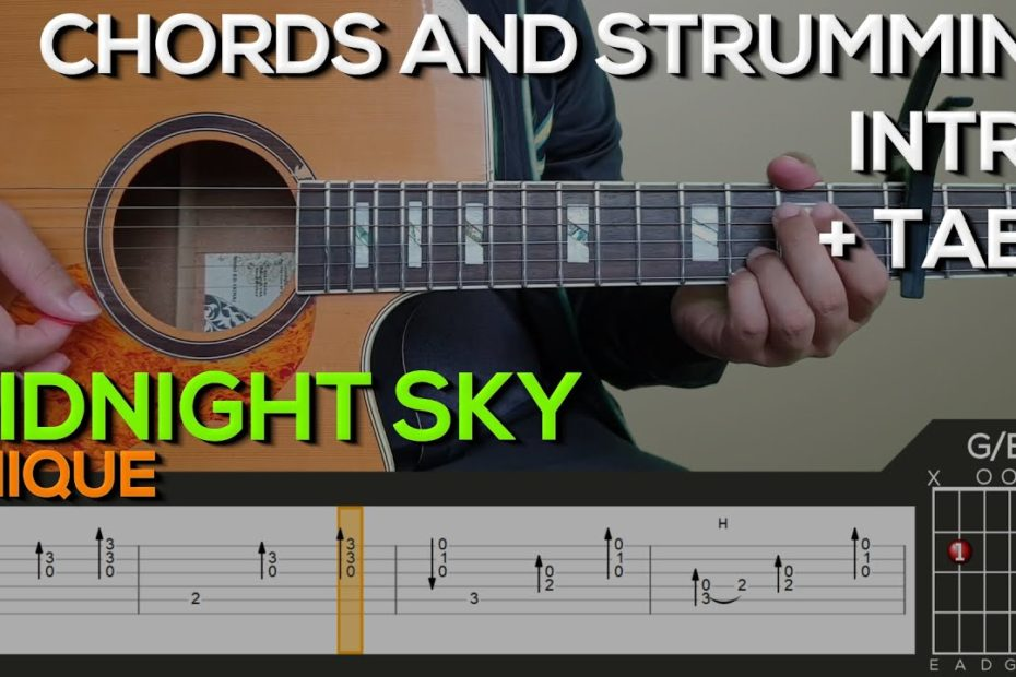 UNIQUE - Midnight Sky Guitar Tutorial [INTRO, CHORDS AND STRUMMING + TABS]