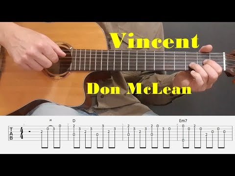 Vincent (Starry Starry Night) - Don McLean -  Easy Fingerstyle guitar with tabs