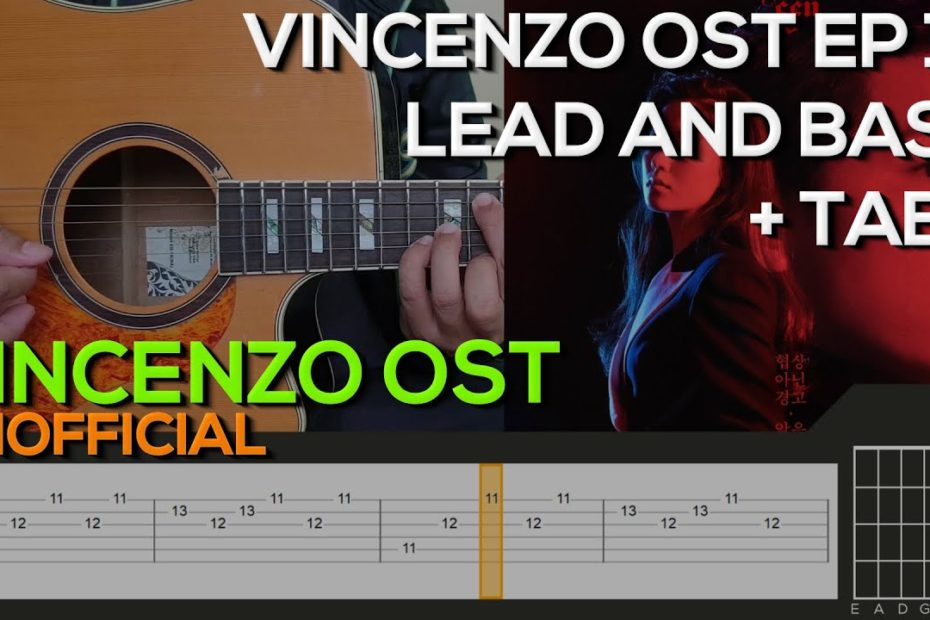 Vincenzo OST EP 14 Guitar Tutorial [LEAD AND BASS + TABS]