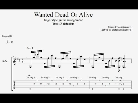 Wanted Dead Or Alive TAB - fingerstyle guitar tabs (PDF + Guitar Pro)