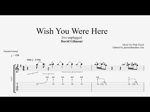 Wish You Were Here solo TAB - live unplugged - acoustic guitar solo tabs (Guitar Pro)