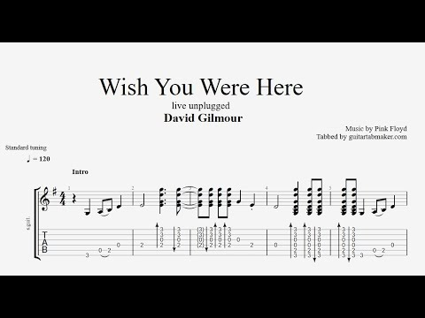 Wish You Were Here TAB - live unplugged - acoustic guitar tabs (Guitar Pro)
