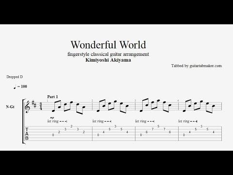 Wonderful World TAB - fingerstyle classical guitar tabs (PDF + Guitar Pro)