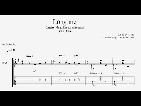 Y Vân - Lòng mẹ TAB - easy fingerstyle guitar tab (PDF + Guitar Pro)